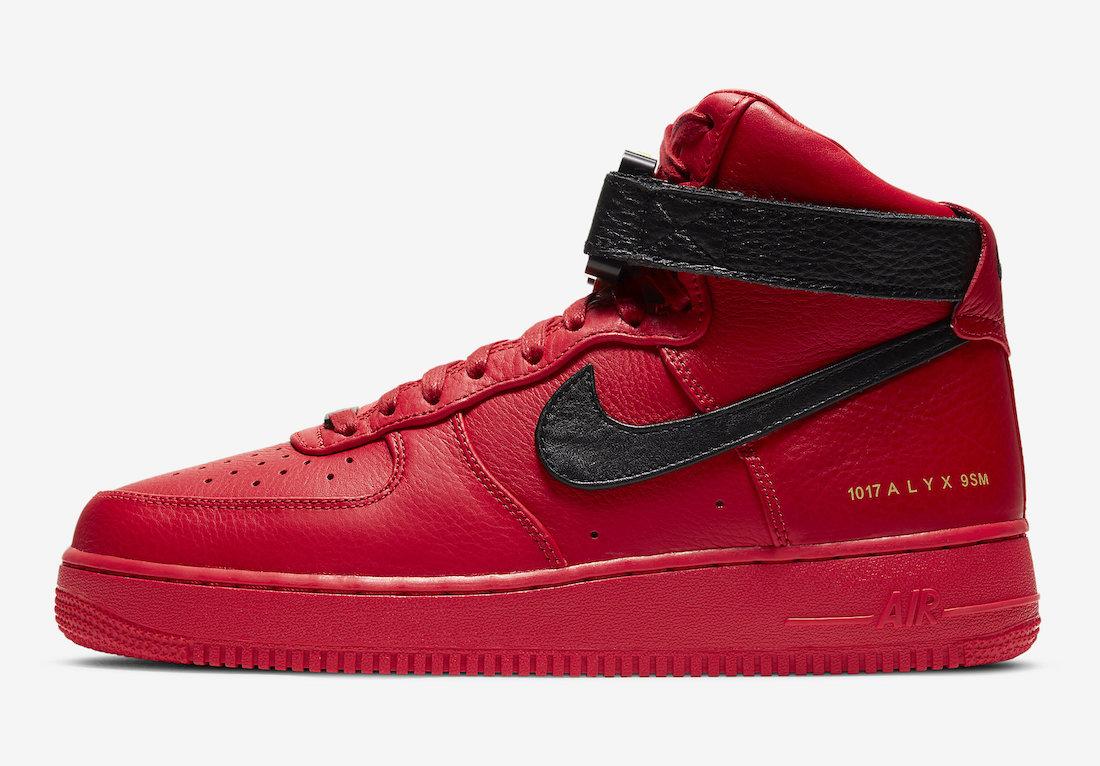 1017 アリクス 9SM × ナイキ エアフォース 1 ハイ 2カラーBlack/University Red 1017 ALYX 9SM × Nike Air Force 1 High 2colors
